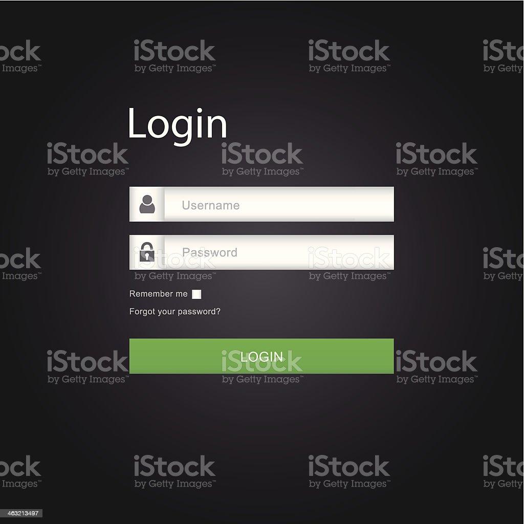 Vector login interface - username and password vector art illustration