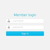 Member login form interface. Vector interface elements - username and password for web page, site, mobile applications, art illustration, design theme, modern menu, contact empty box, banner.