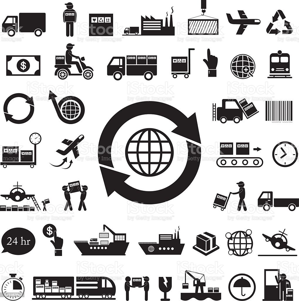 vector logistics icon set vector art illustration