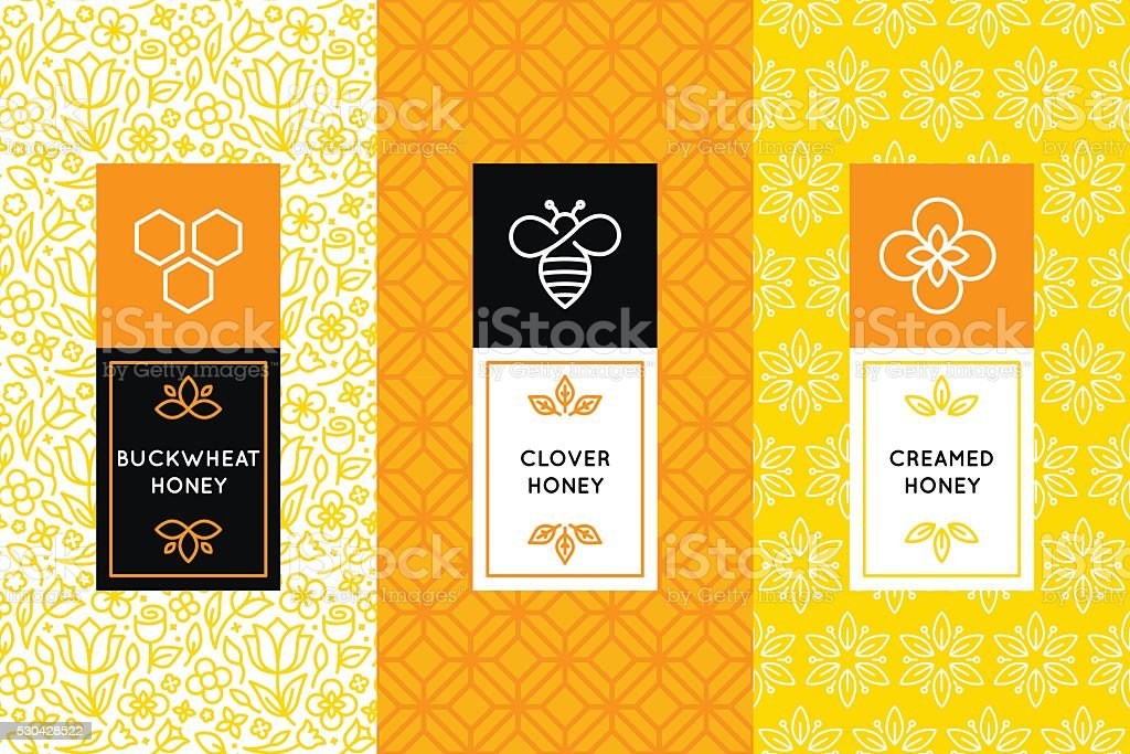 Vector logo and packaging design templates in trendy vector art illustration