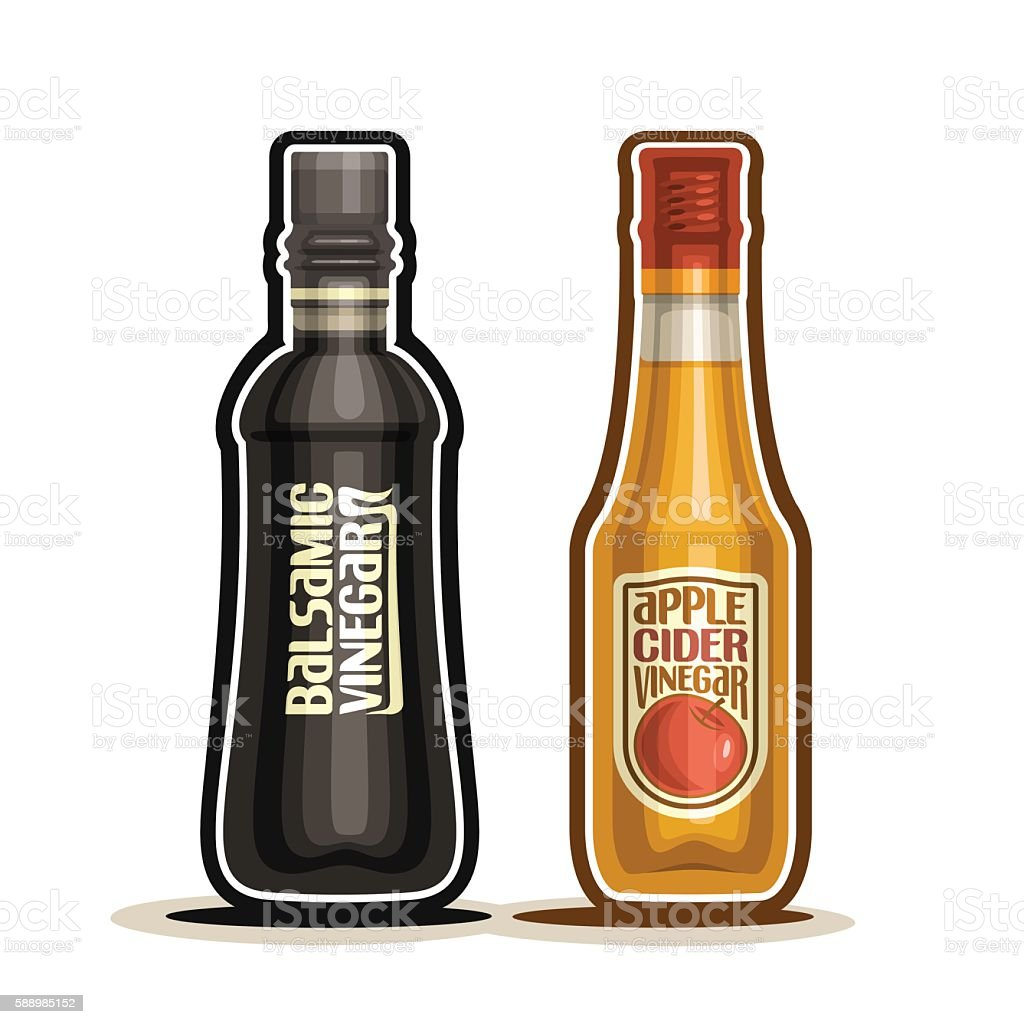Vector logo Balsamic and Apple Cider Vinegar Bottles vector art illustration