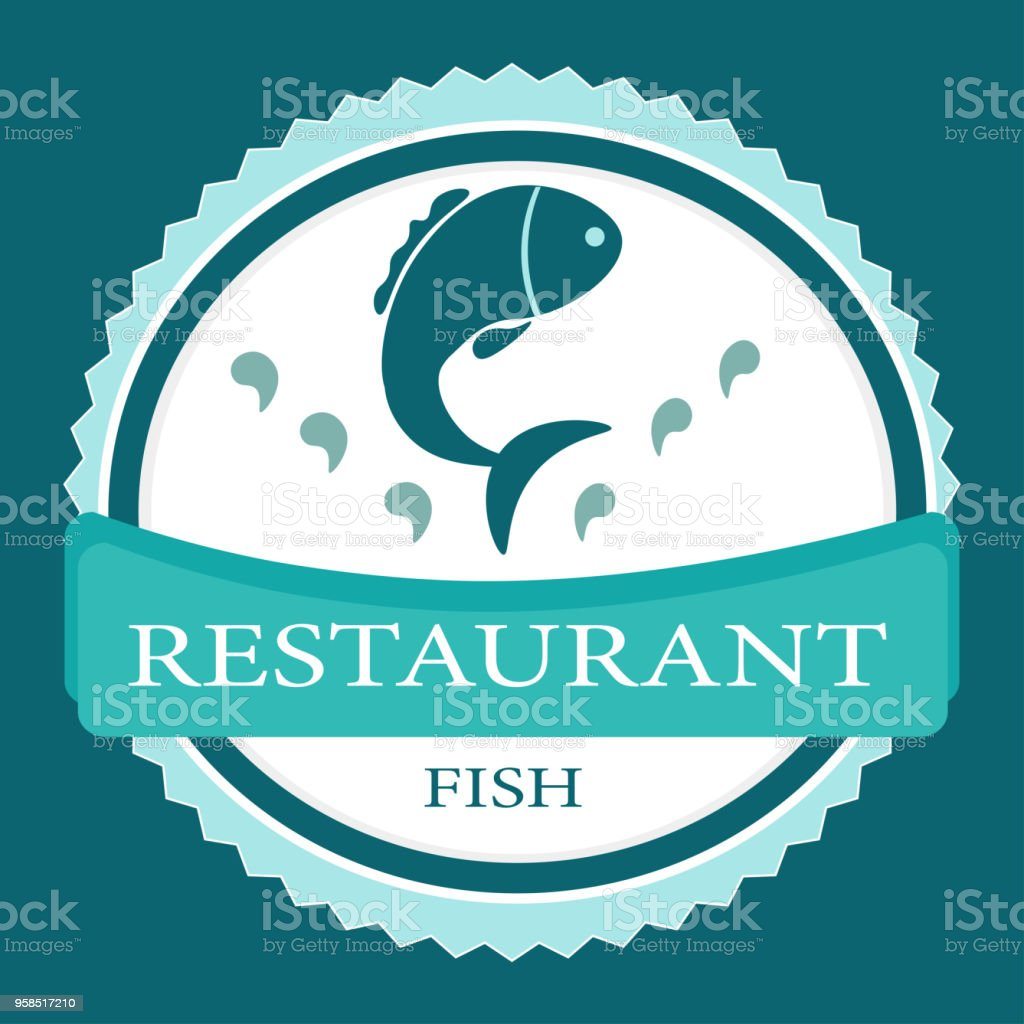Vector Logo Banner For Advertising Restaurant Name Blue Turquoise Color With Fish Stock Illustration Download Image Now Istock