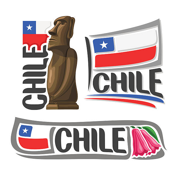 vektor-logo-chile - flagge chile stock-grafiken, -clipart, -cartoons und -symbole