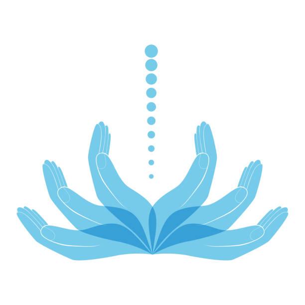 bildbanksillustrationer, clip art samt tecknat material och ikoner med vektor logotypen kliniken behandlar hälsa av ryggen och ryggraden, osteopati och manuell terapi - vektorillustration - acupuncture