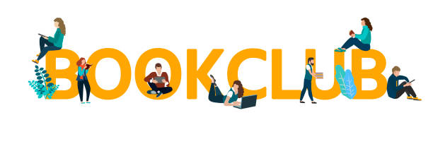 Vector logo concept of a book club with people reading. Vector logo concept of a book club with people reading. Flat style. book club stock illustrations