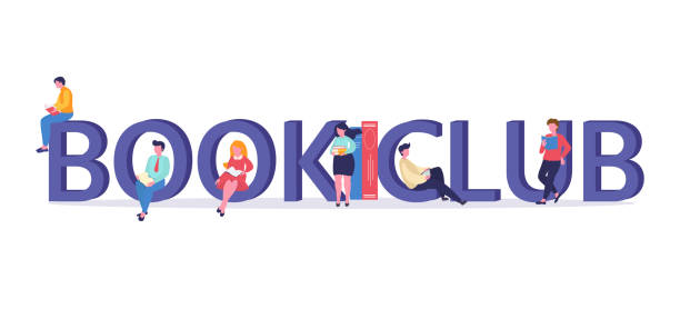 Vector logo concept of a book club with people reading. Illustration can use for landing page, web, mobile app, banner, poster, flyer, background book club stock illustrations