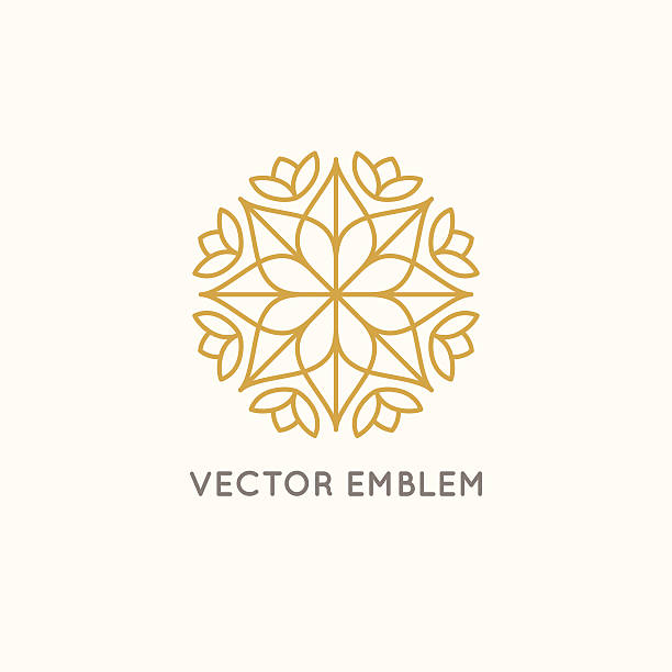 vector logo design - cosmetics and beauty concept - jeden kwiat stock illustrations