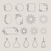 istock vector logo design elements, decorative geometric floral frames, borders 1285777697