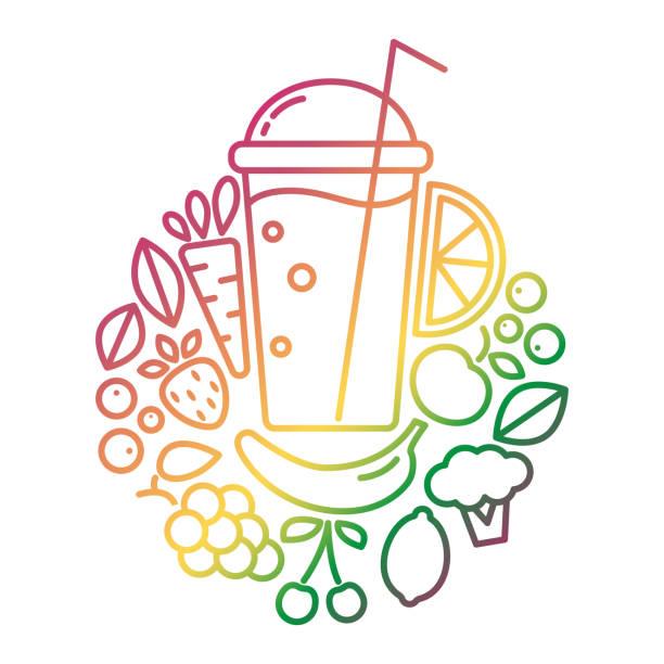 bildbanksillustrationer, clip art samt tecknat material och ikoner med vektor logotypdesign för vegan eller vegetarisk smoothie drink, detox bar, naturlig produkt. emblem för burken. - smoothie