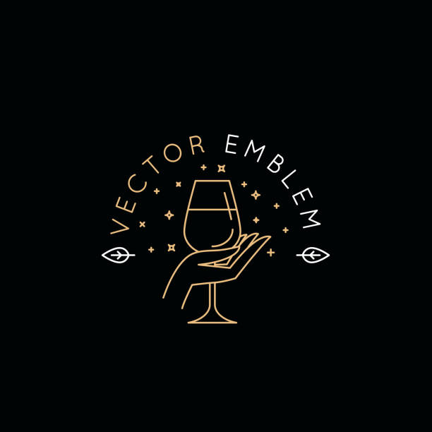 Vector logo design templat and emblem in simple line style - wine label vector art illustration