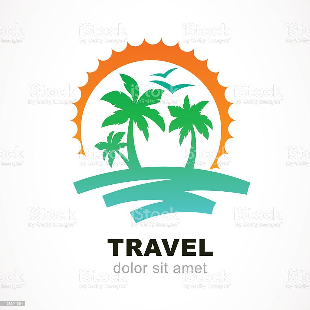 Vector logo design template. Abstract sun, palm tree on seaside. vector art illustration