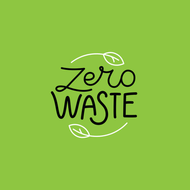 vector logo design template and badge in trendy linear style - zero waste concept, recycle and reuse, reduce - sustainability stock illustrations