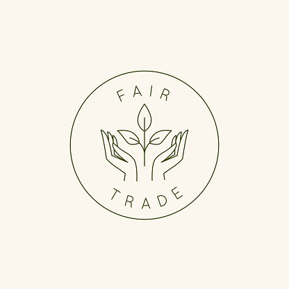 Vector logo design template and emblem in simple line style - fair trade