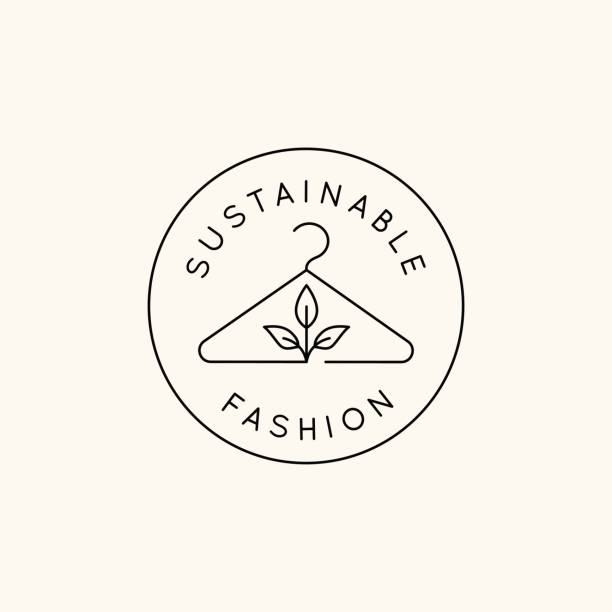 Vector logo design template and emblem in simple line style - sustainable fashion badge vector art illustration