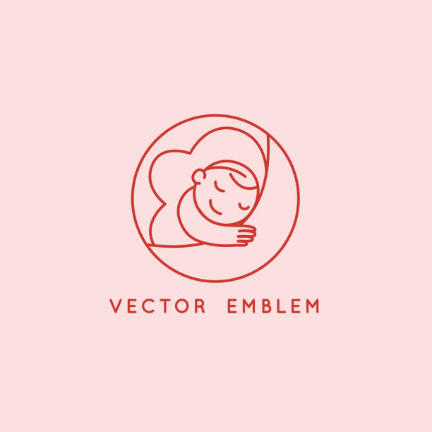 Vector logo design template and emblem in simple line style - happy baby vector art illustration