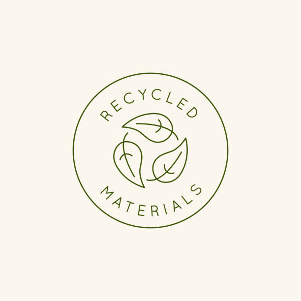 Vector logo design template and emblem in simple line style - recycled materials vector art illustration
