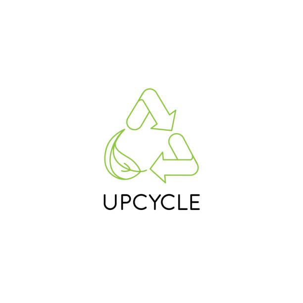 vektor-logo-design-vorlage und emblem in einfachen linienstil - upcycle - upcycling stock-grafiken, -clipart, -cartoons und -symbole