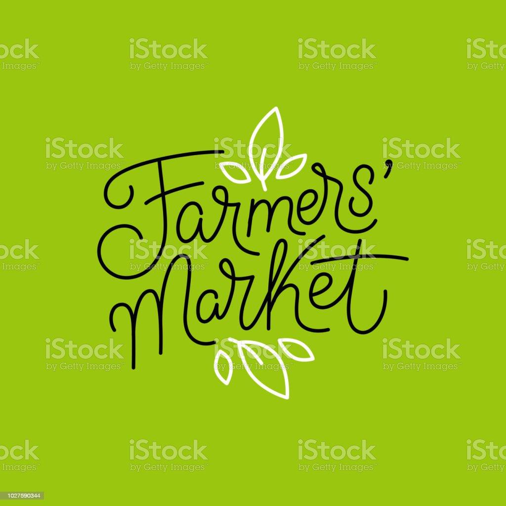 Vector logo design template and hand-lettering phrase - farmers market vector art illustration