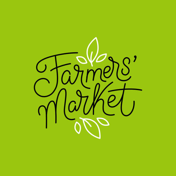 Vector logo design template and hand-lettering phrase - farmers market Vector logo design template and hand-lettering phrase - farmers market - label and sign for shop with natural organic locally grown food farmer's market stock illustrations