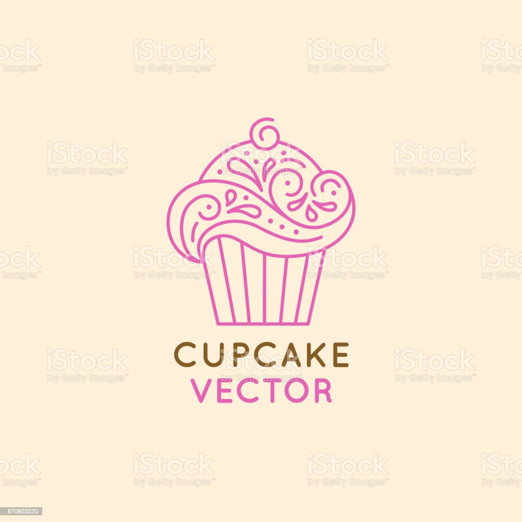 Vector Logo Design Template And Insignia In Flat Linear Style Sweet