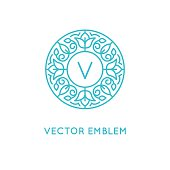 Vector logo design template and monogram concept in trendy linea