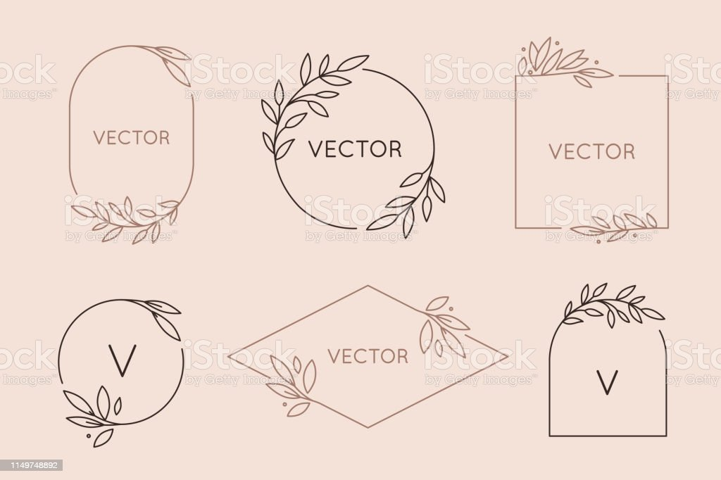 Vector logo design template and monogram concept in trendy linear style - floral frame with copy space for text or letter - Векторная графика Арт-деко роялти-фри
