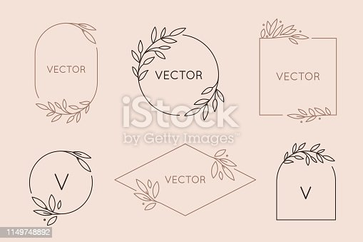 istock Vector logo design template and monogram concept in trendy linear style - floral frame with copy space for text or letter 1149748892