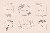 トレンディなリニアスタイルでのベクトルロゴデザインテンプレートとモノグラムのコンセプト-テキストや文字のコピースペースで花のフレーム