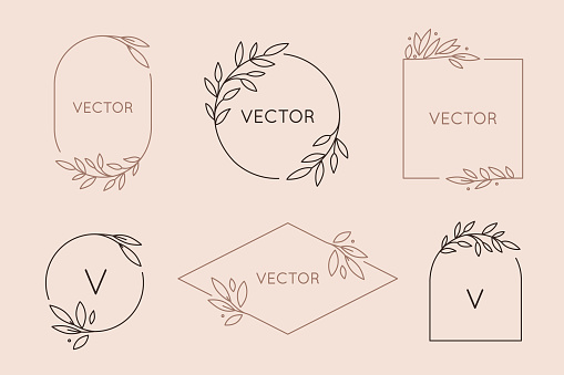 Vector Logo Design Template And Monogram Concept In Trendy Linear Style Floral Frame With Copy Space For Text Or Letter — стоковая векторная графика и другие изображения на тему Арт-деко