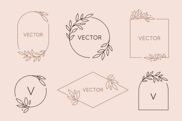 stockillustraties, clipart, cartoons en iconen met vector logo design template en monogram concept in trendy lineaire stijl-floral frame met kopieerruimte voor tekst of letter - bloemen