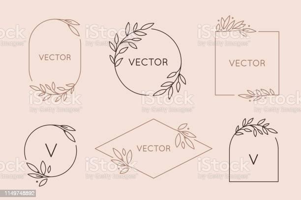 Vector Logo Design Template En Monogram Concept In Trendy Lineaire Stijlfloral Frame Met Kopieerruimte Voor Tekst Of Letter Stockvectorkunst en meer beelden van Art deco