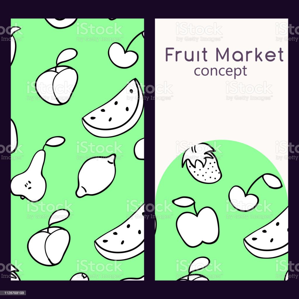 Vector logo design template and seamless pattern in doodle style for packaging. Fruit market concept. Vector illustration. vector art illustration
