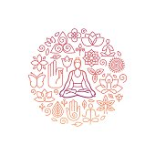 Vector logo design template in trendy linear style with icons and signs - emblem for yoga class, holistic healing centers, meditation practice and course