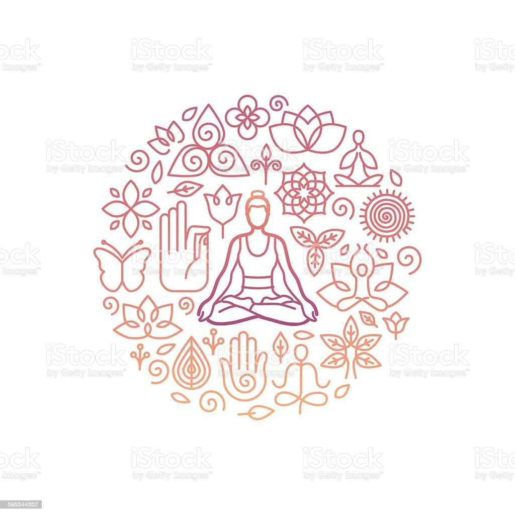 Vector logo design template - emblem for yoga class vector art illustration
