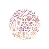 Vector logo design template - emblem for yoga class