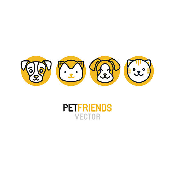 vector logo design template for pet shops - pets stock illustrations, clip art, cartoons, & icons