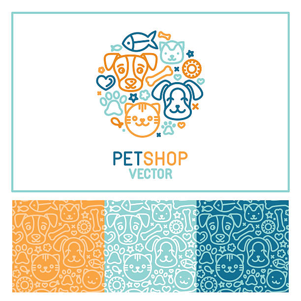 stockillustraties, clipart, cartoons en iconen met vector logo design template for pet shops - dierenziekenhuis