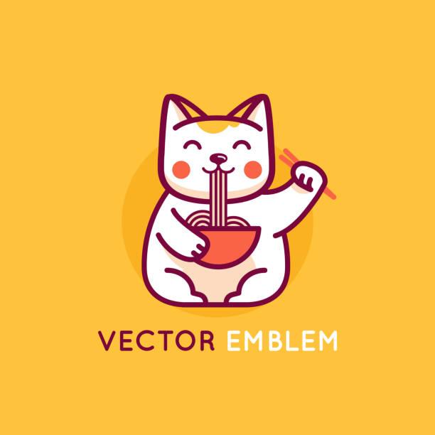 Vektor-Logo-Design-Vorlage in flachen linearen Cartoonstil - lächelnd Maneki Katze essen Nudeln – Vektorgrafik