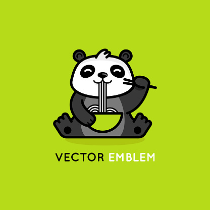 Vector logo design template in cartoon flat linear style -smiling panda bear eating noodles