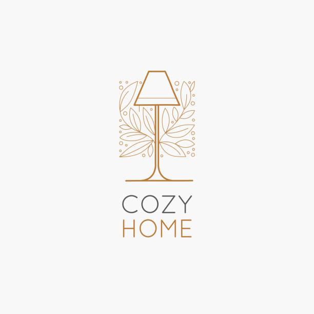 Vector logo design template in simple linear style - home decor store emblem Vector logo design template in simple linear style - home decor store emblem, scandinavian and minimal interior decoration, accessories and objects - lamp with leaves interior designer stock illustrations