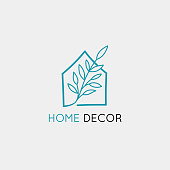 istock Vector logo design template in simple linear style - home decor store 1125893421