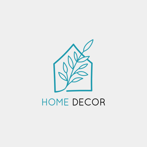 Vector logo design template in simple linear style - home decor store Vector logo design template in simple linear style - home decor store emblem, scandinavian and minimal interior decoration, accessories and objects interior designer stock illustrations