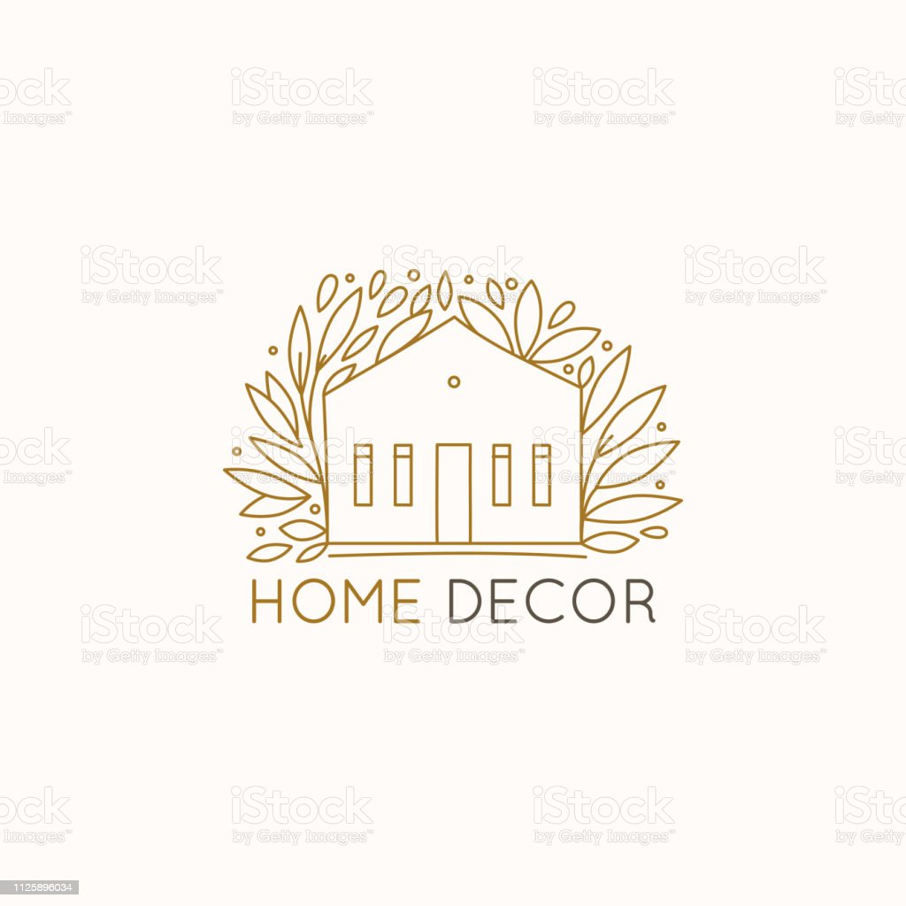 Vector Logo Design Template In Simple Linear Style Home Decor Store