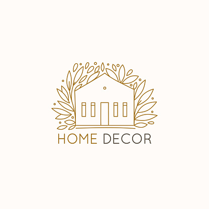Vector Logo Design Template In Simple Linear Style Home ...