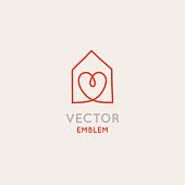 Vector logo design template in simple linear style - home decor store emblem, scandinavian and minimal interior decoration, accessories and objects - house with heart