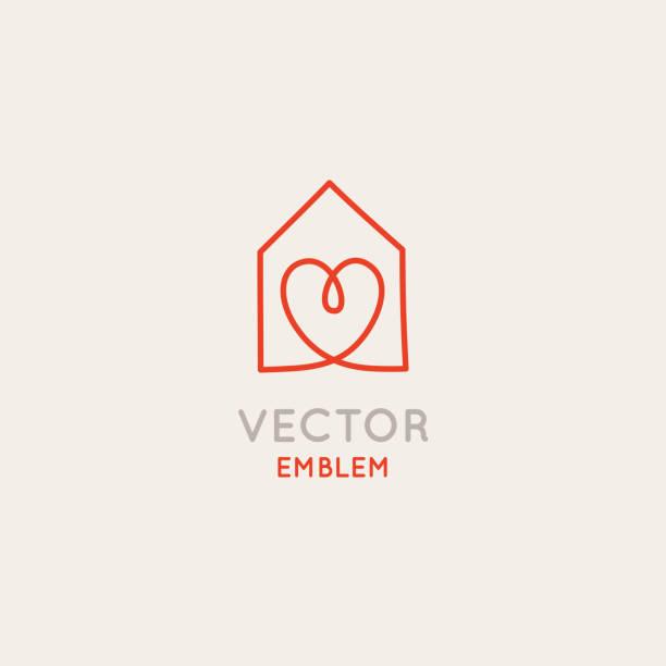 ilustrações de stock, clip art, desenhos animados e ícones de vector logo design template in simple linear style - home decor store - obras em casa janelas