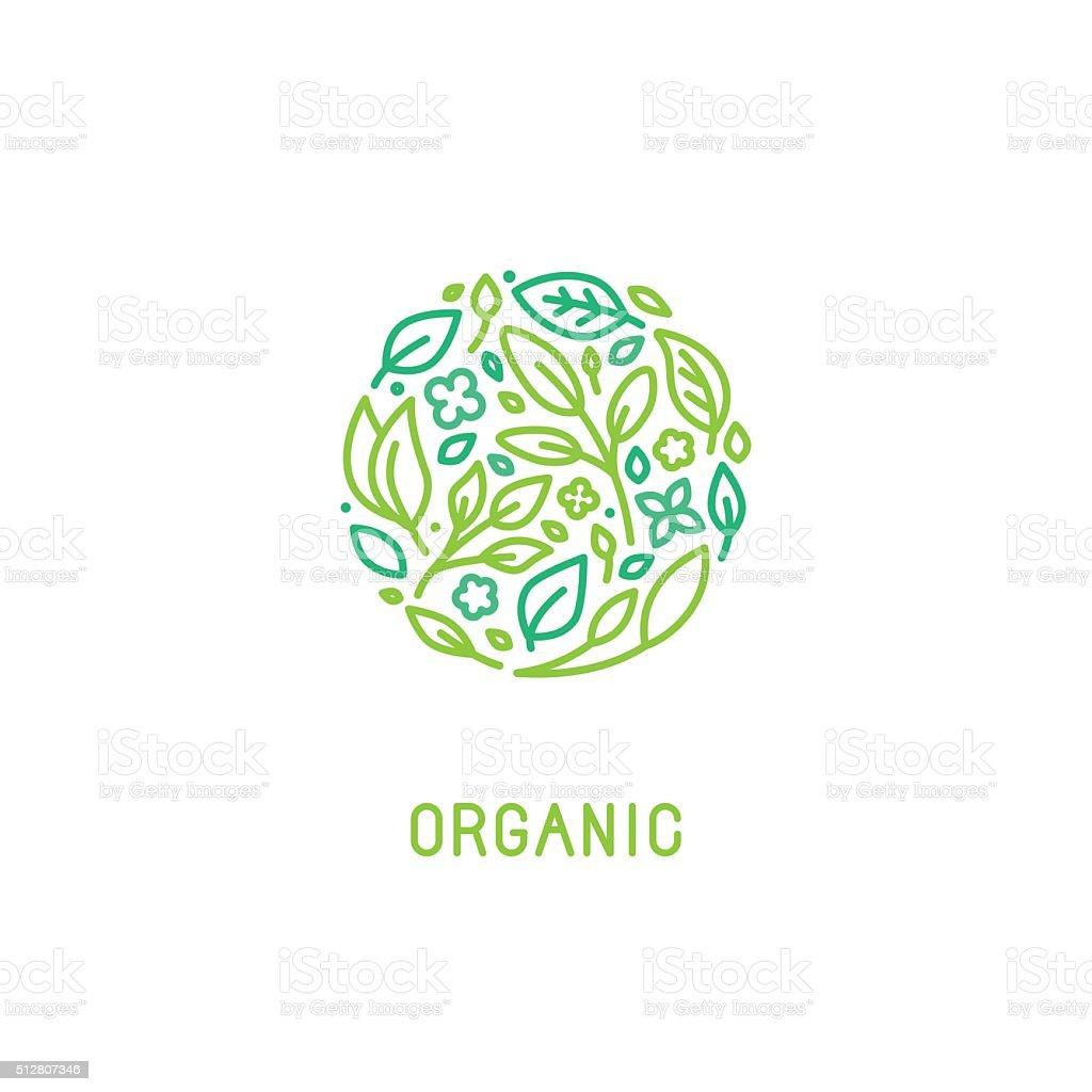 Vector logo design template in trendy linear style vector art illustration