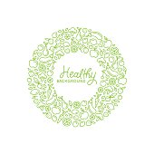 Vector logo design template in trendy linear style with copy space for text and fruit and vegetable icons - healthy store, vegan and natural food product packaging