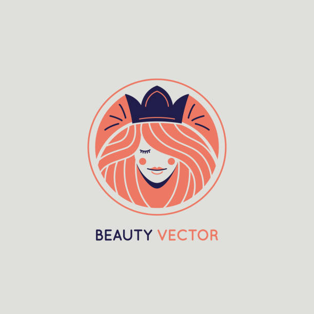 Vektor-Logo-Design-Vorlage in trendigen linearen Stil mit Frauengesicht – Vektorgrafik