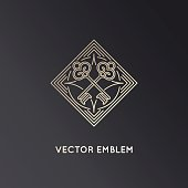 Vector logo design template in trendy linear style with keys